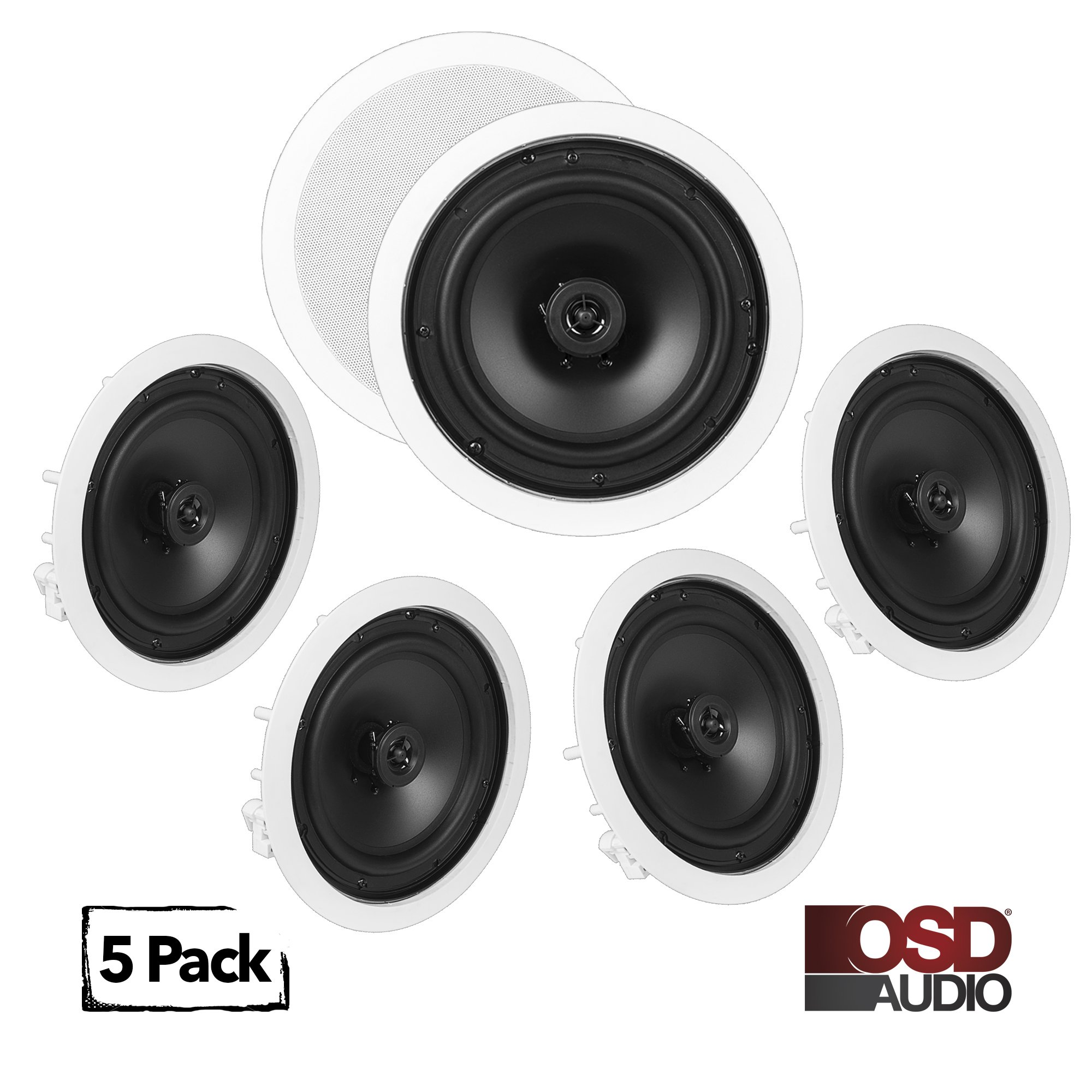 OSD Audio ICE800 In-Ceiling/In-Wall Speaker 1200W Home Theater 5-Speaker Package 8'' Woofer w/ PEI Pivoting Dome Tweeter Paintable Snap-In Grill