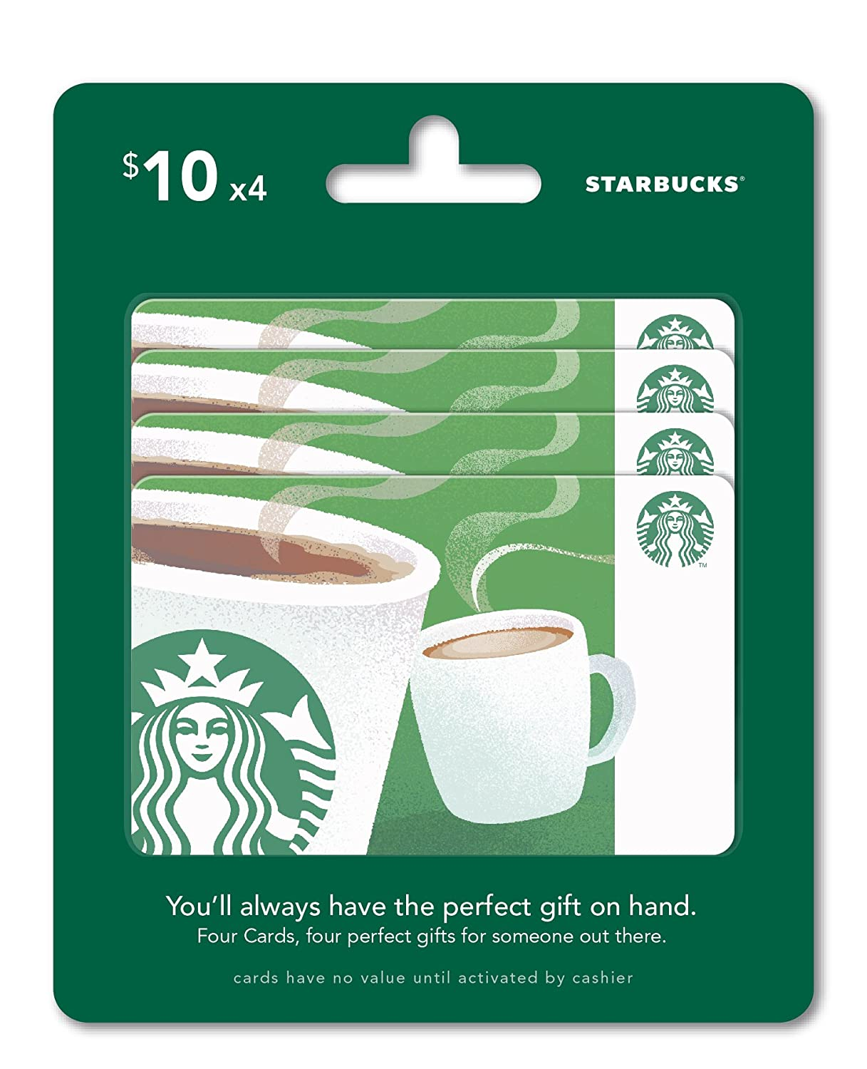 Amazon Starbucks Gift Cards Multipack Of 4 10 Gift Cards