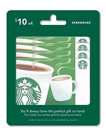 Amazon starbucks gift cards multipack of 4 10 gift cards starbucks gift cards multipack of 4 10 negle Gallery