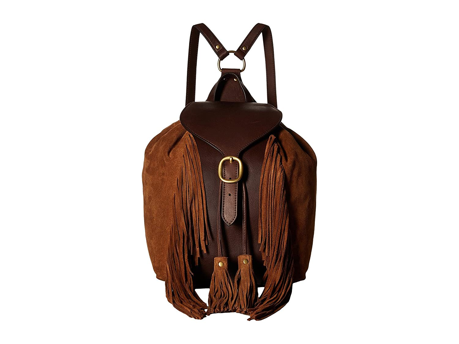 [フライ] Frye レディース Clara Fringe Backpack バックパック [並行輸入品]  Dark Brown Soft Vintage Leather/Suede B01N67DM6Y