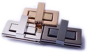 Bobeey 2sets 32x19mm Rectangle Twist Turn Locks,Rectangle Purses Locks Clutches Closures,Metal Twist Locks Purse Closure Turn Locks BBL7 (Brussed Brass, S)