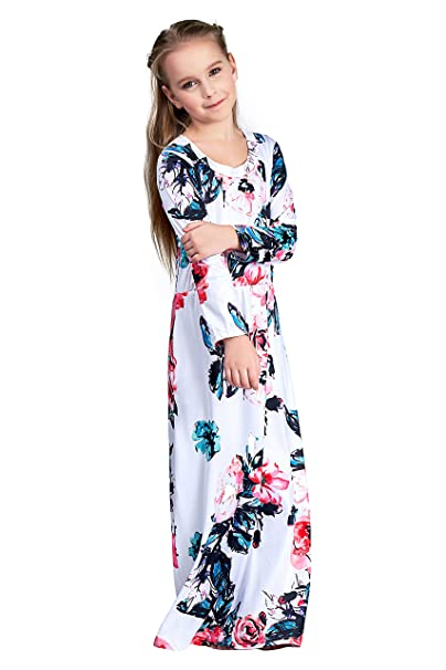 4058f0482fcd CVERRE Girl Floral Pocket Maxi Quarter Sleeves Long Holiday Dress White  F-WH80