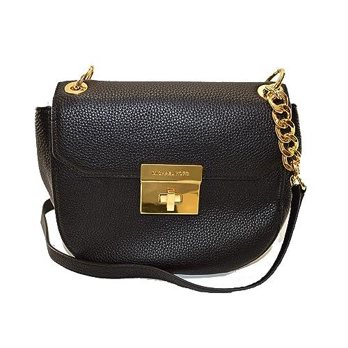 Shop Michael Kors Cecelia Mini Saddle Crossbody Bag, Black