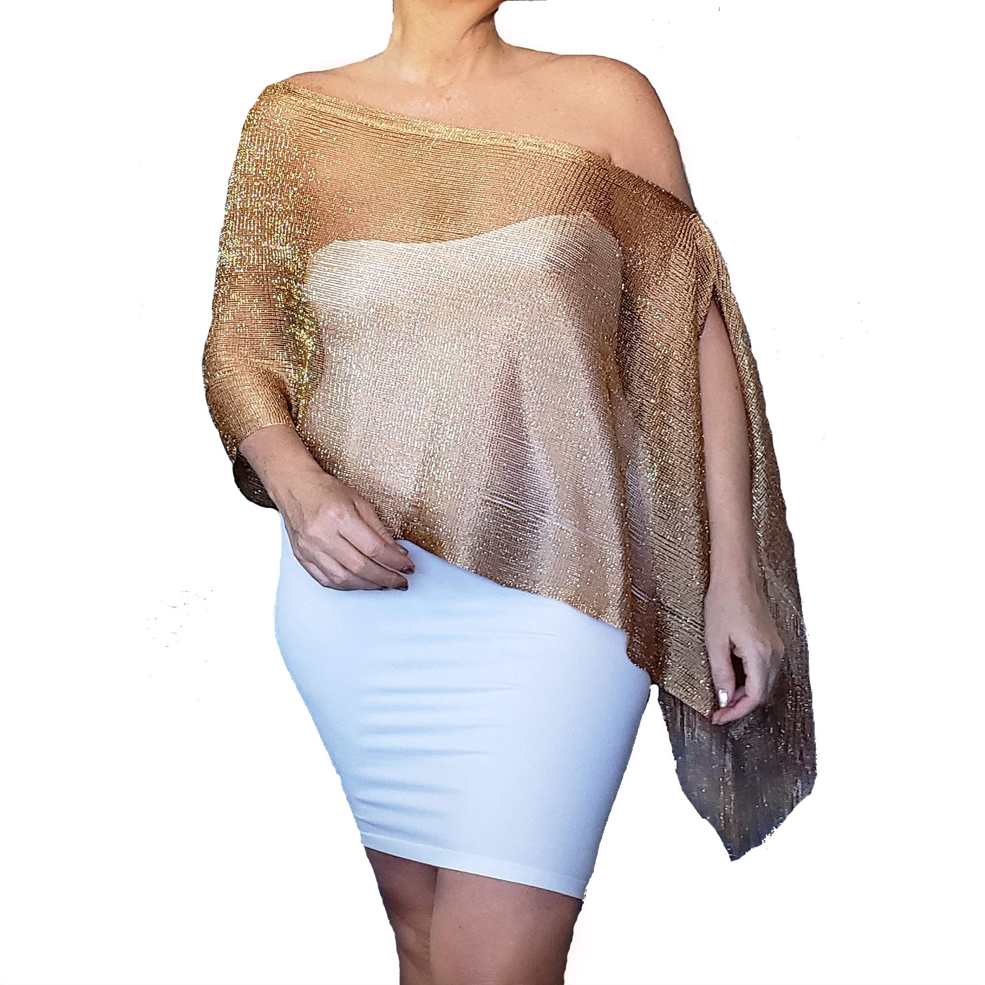 d350cbcdbc3 Plus Size Gold Wrap Shawl Cocktail Party Off The Shoulder Top By ZiiCi