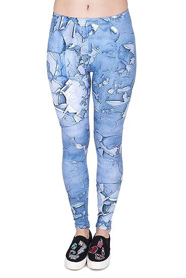 4e56102b85f6e5 Hanessa Frauen Leggins Blau Grau Bedruckte Leggings Hose Frühling Sommer  Kleidung Alte Kleidung L25