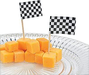 Fun Express - Race Car Flag Picks for Party - Party Supplies - Serveware & Barware - Picks & Stirrers & Parasols - Party - 144 Pieces