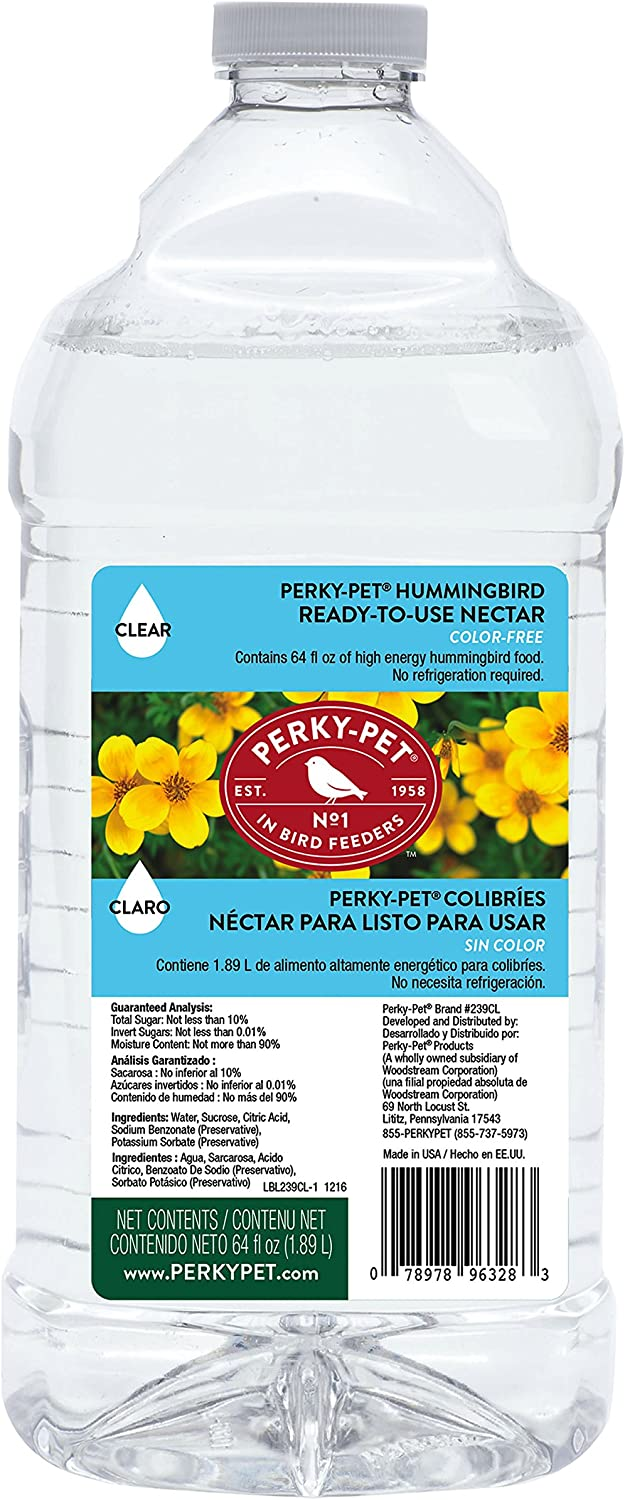 Perky-Pet 239CL Ready-to-Use Clear Hummingbird Nectar, 64-Ounce