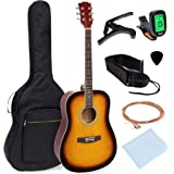 Best Choice Products 41in Full Size All-Wood Acoustic Guitar Starter Kit w/Gig Bag