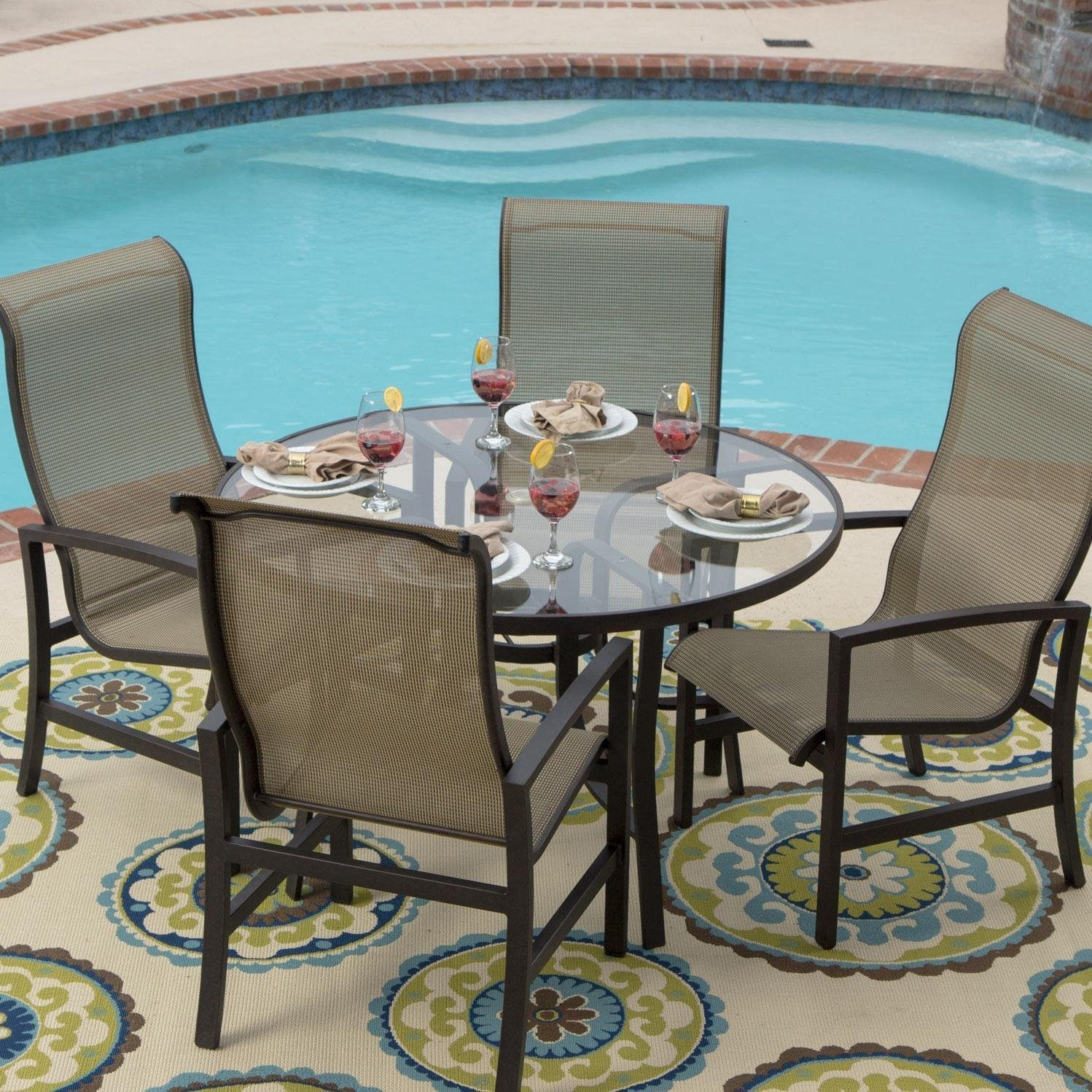 Amazon.com : Acadia 4-Person Sling Patio Dining Set With Glass Table ...