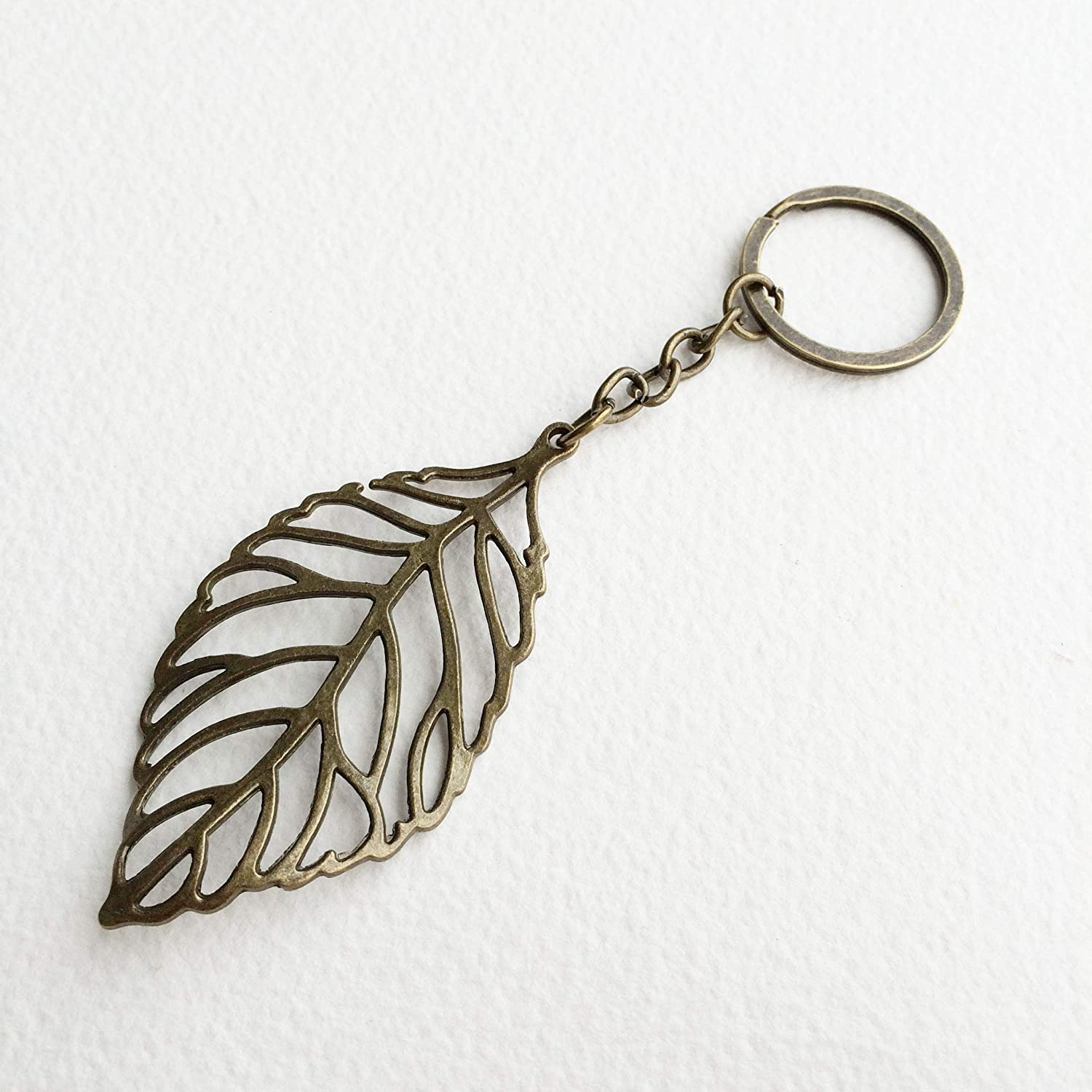 Leather Keyring Leather Accessories Feather appear Feather Keyring Feather Keychain Leather Keychain Key holder Leaf Keychain