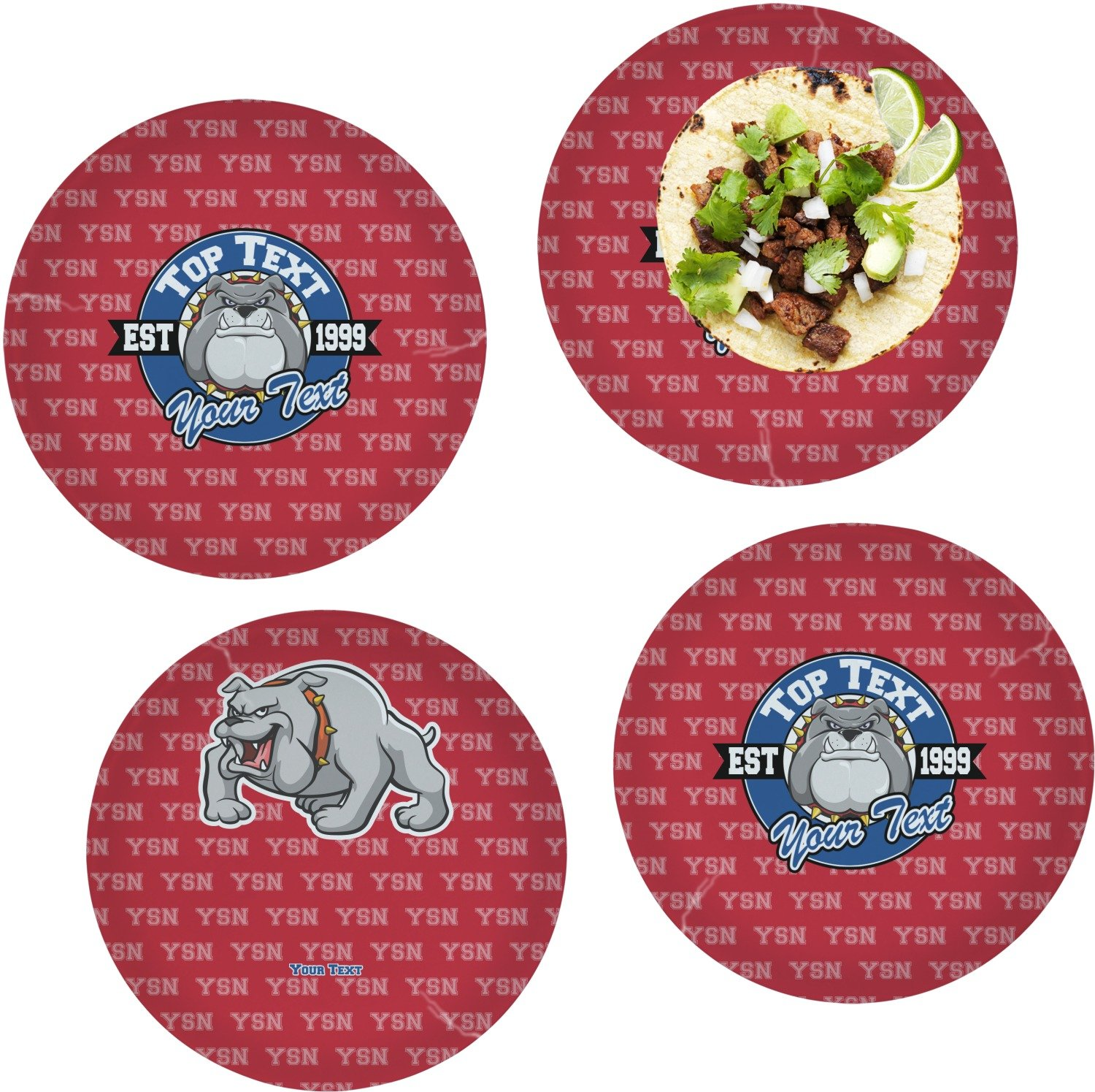 School Mascot Set of 4 Glass Lunch/Dinner Plate 10'' (Personalized)