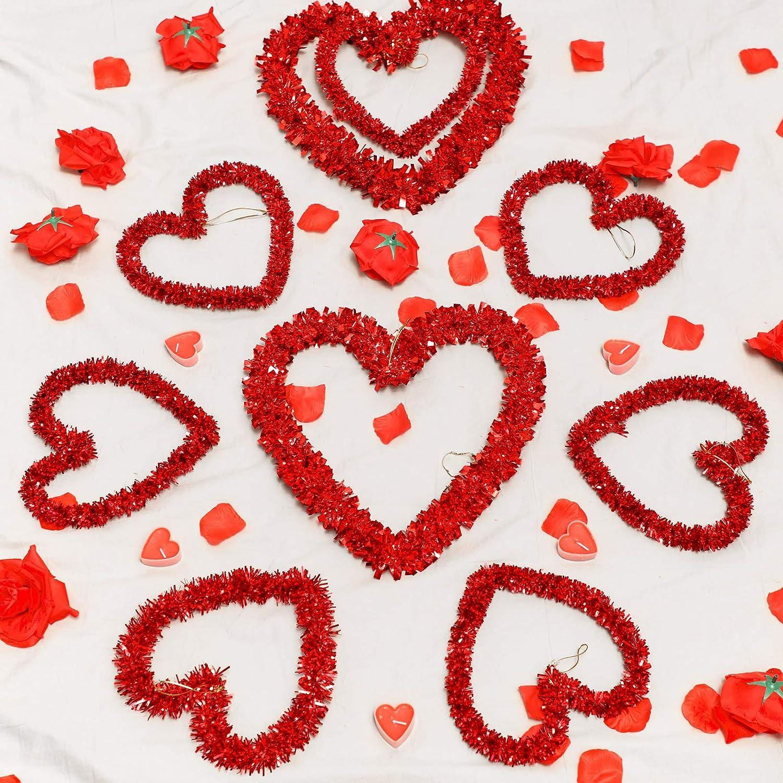 ghdonat.com 9 Pieces Tinsel Heart Wreaths Valentines Assortment ...