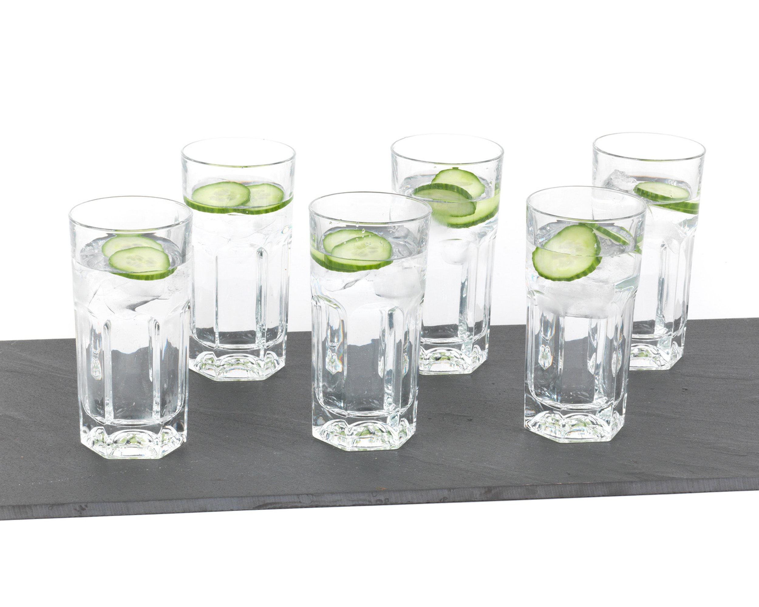 RCR 23829020006 Provenza Crystal Hi-Ball Cocktail Water Tumblers Glasses, 370 ml, Set of 6