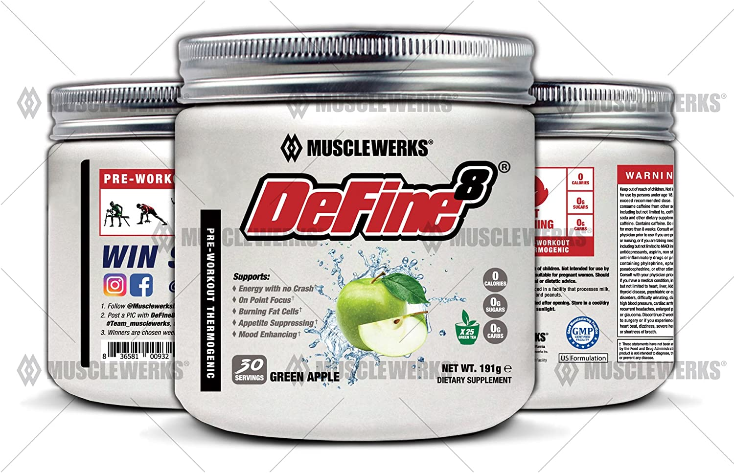 DeFine8 Green Apple – Fat Burner for Women and Men, Pre-Workout Thermogenic – NEW ADVANCED FORMULA, Appetite Suppressant, Boosts Metabolism Curbs Sweet Cravings for Weight Loss