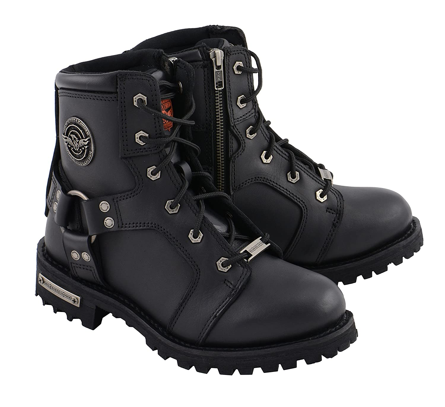 Milwaukee Leather MBL9302-BLACK-9 Womens Lace to Toe Harness Boot Black 9