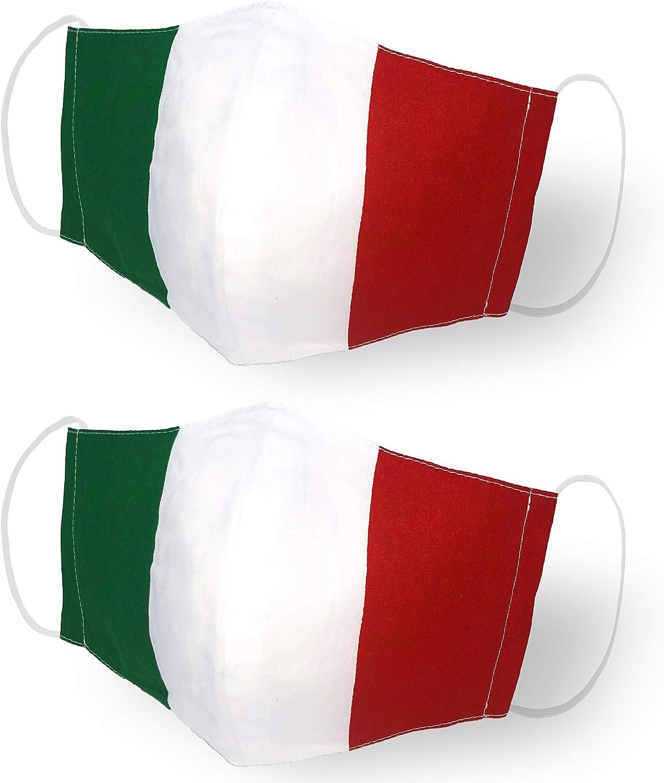 Mascherine covid bandiera Italia lavabili set 2 pezzi cotone, lavabile, riutilizzabile
