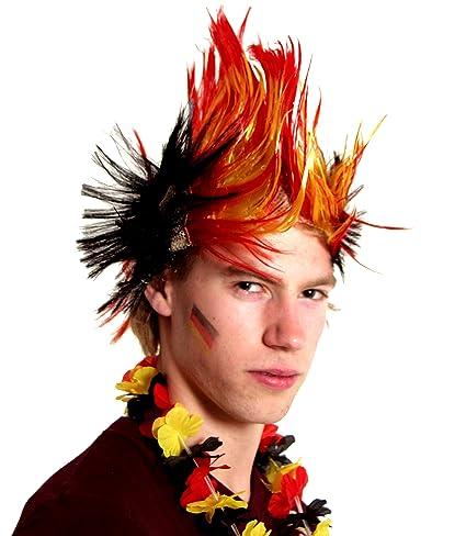 Brubaker – Peluca punky nuevo. Iro de peluca en Alemania colores negro rojo oro.