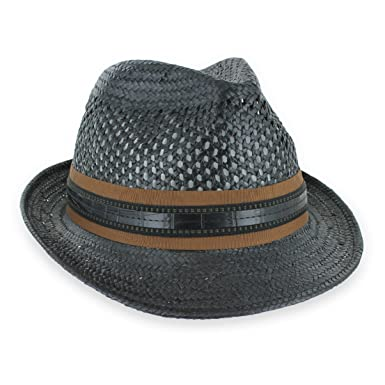 1aad62cb84932 Men Women Summer Woven Straw Trilby Fedora Hat in Ivory Tan Black at Amazon  Men s Clothing store