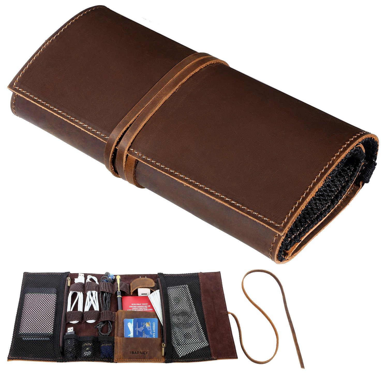 Genuine Crazy Horse Leather Electronics Organizer Roll Bag Travel Pouch for USB Cable, SD Card, Charger, Earphone, Passport, Cash, Coins, Hard Drive by BY BARNEY