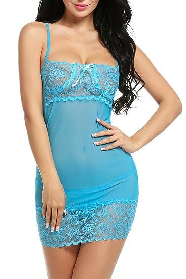 614b2def12 Avidlove Womens Sexy Lace Lingerie Babydoll Sleepwear Strap Chemise Blue L