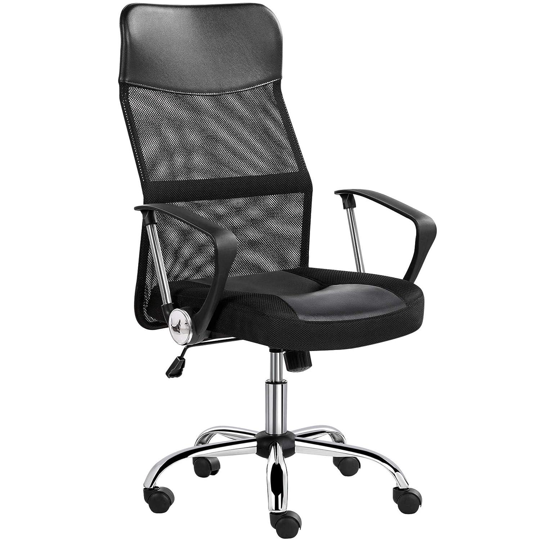 Yaheetech Krzesło biurowe, ergonomiczne, oddychające krzesło biurowe z wysokim oparciem z siatki, funkcja przechylania, obciążenie do 135 kg