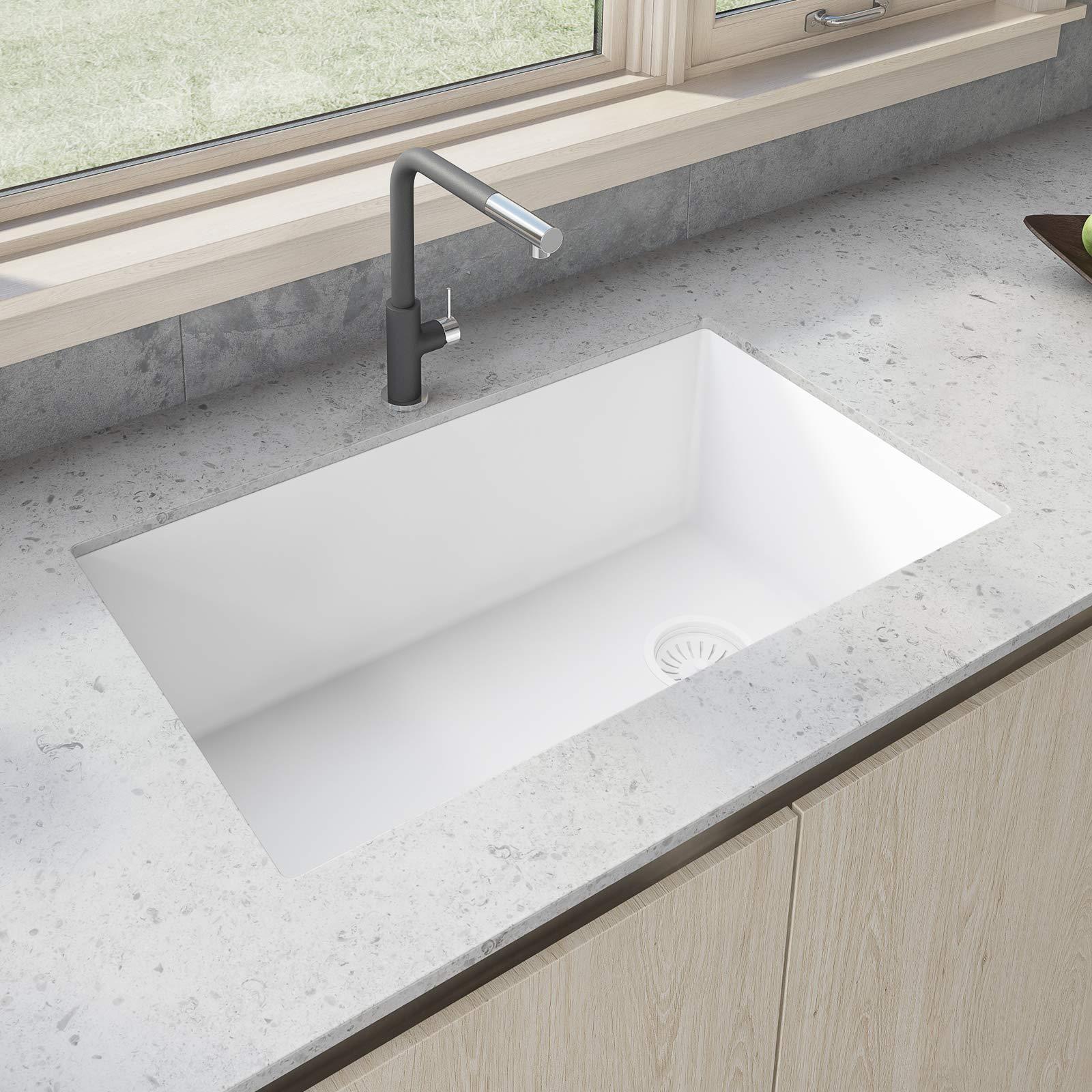 Ruvati 32 X 19 Inch Undermount Granite Composite Single Bowl Kitchen Sink Arctic White Rvg2033wh Buy Online In Bahamas At Bahamas Desertcart Com Productid 99664760