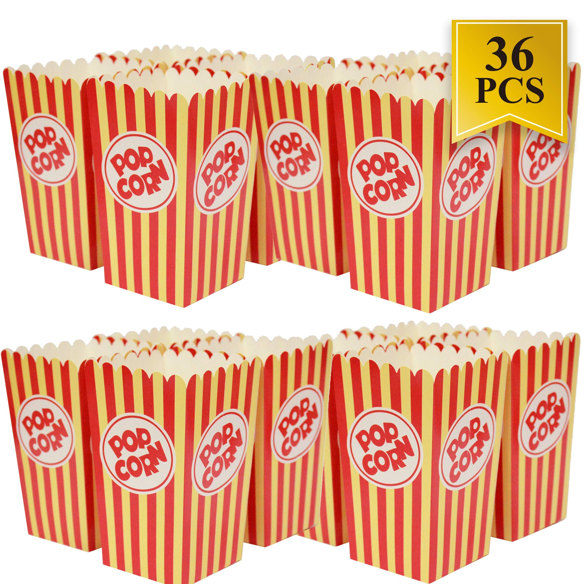 Movie Theater Popcorn Boxes - 36 Pack Paper Popcorn Boxes Striped Red and White - Prefect for Movie Night or Movie Party Theme
