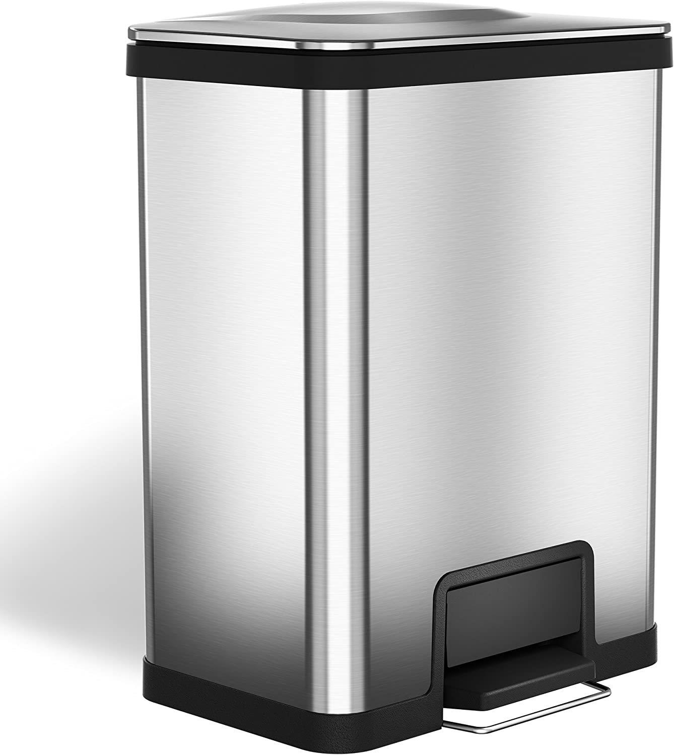 halo AirStep 13 Gallon Kitchen Trash Can – Stainless Steel Step Trash Can with Deodorizer – Replaceable Air Damper - Silent and Gentle Lid Close