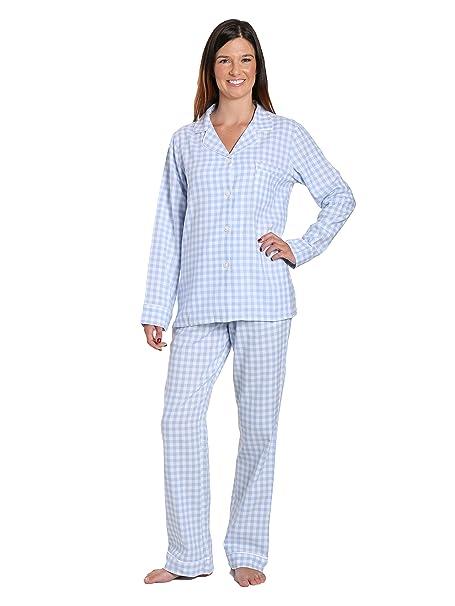 Noble Mount ropa de dormir de franela pijama de las mujeres fijó gran guinga azul y