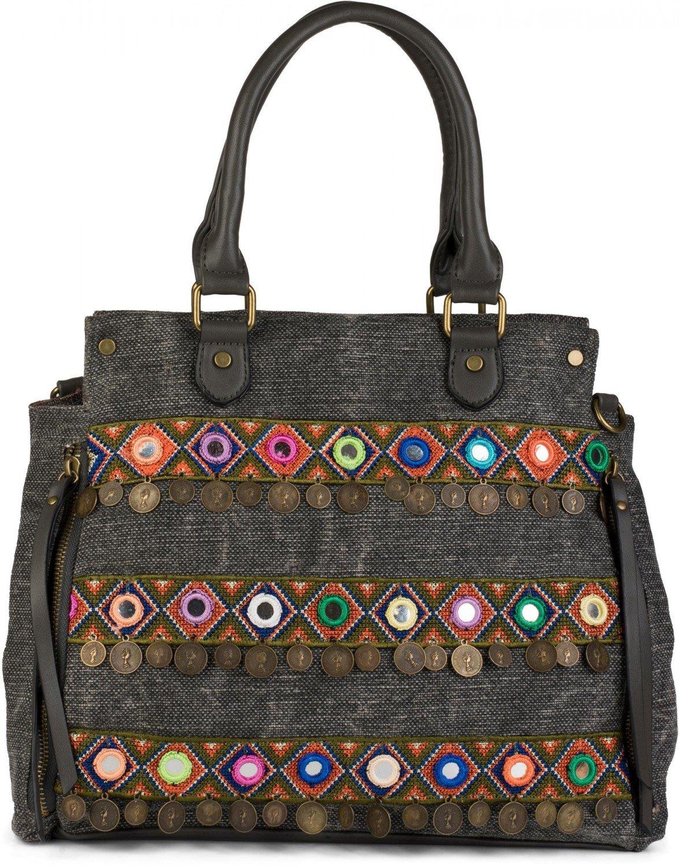 3ae8067be styleBREAKER bolso de asa de tela en estilo étnico con bordados, monedas y  espejos,
