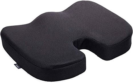 Tailbone Pain Relief Cushion Everlasting Comfort Seat Cushion for Office Chair Sciatica Pillow for Sitting Coccyx Cushion Black