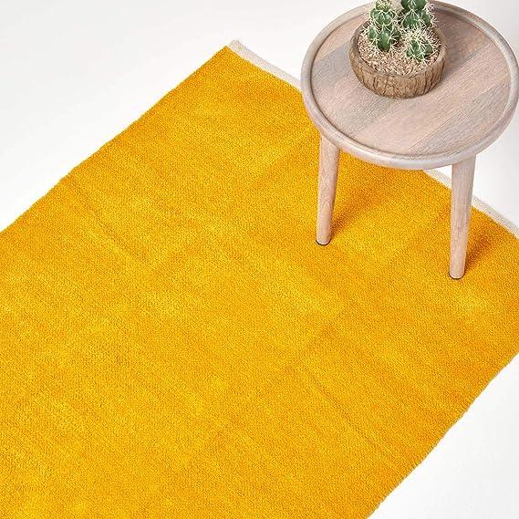 Homescapes Tapis Chenille Uni En 100 Coton Jaune Moutarde 90 X 150 Cm
