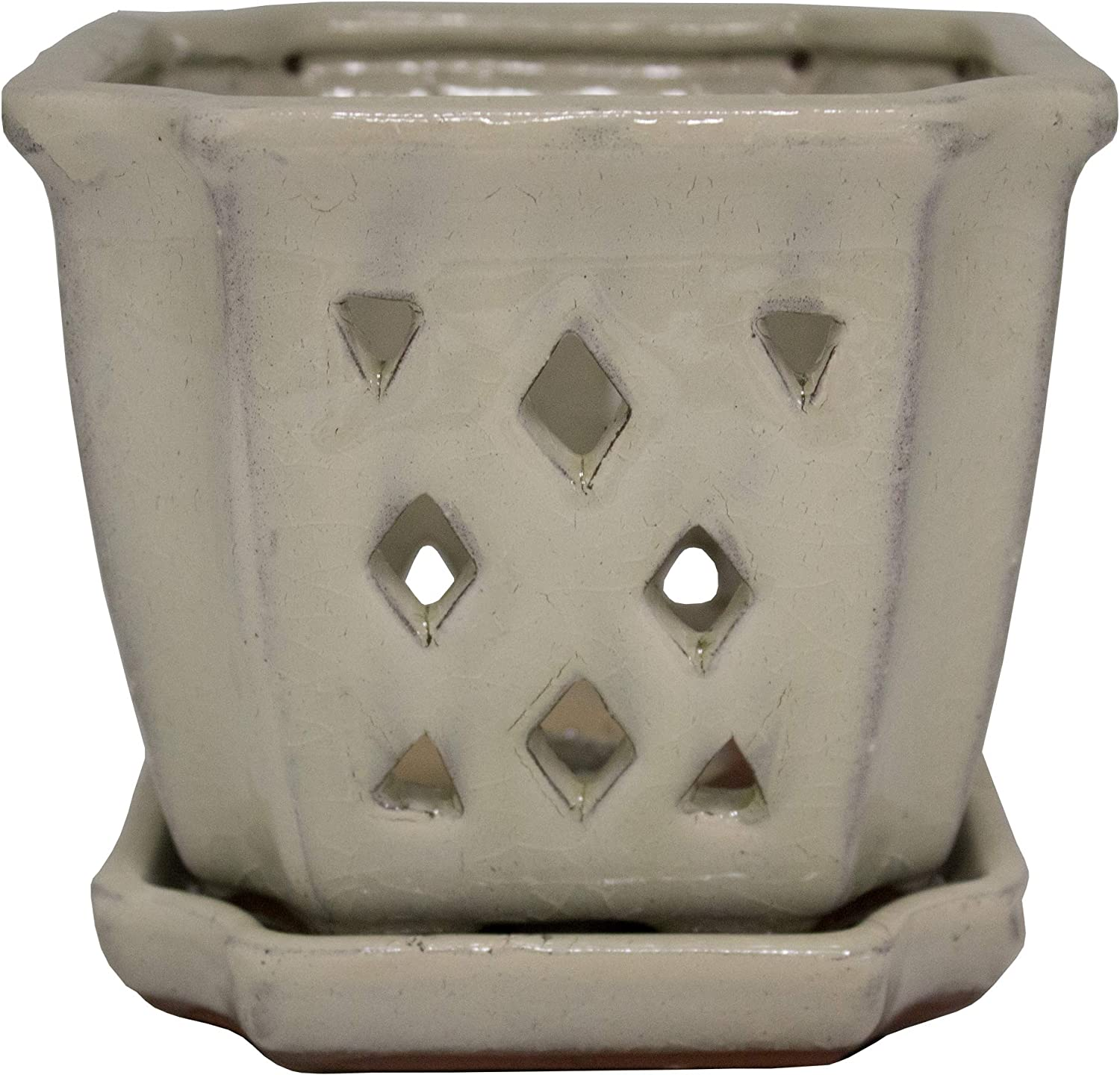 Crackle White Indoor Planter 5 inch TRENDSPOT 5IN Orchid Pot Square