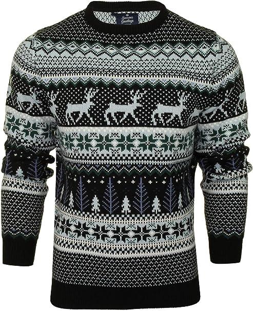 Ladies Mens Unisex Novelty Xmas Reindeer Snow Christmas Knitted Sweater Jumper