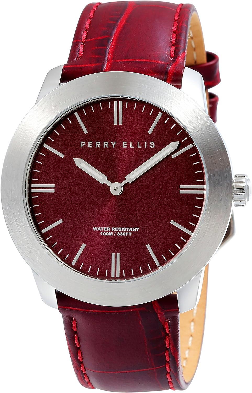 Perry Ellis Men s Watch Slim Line Analog Quartz Watch with Genuine Leather Band Waterproof