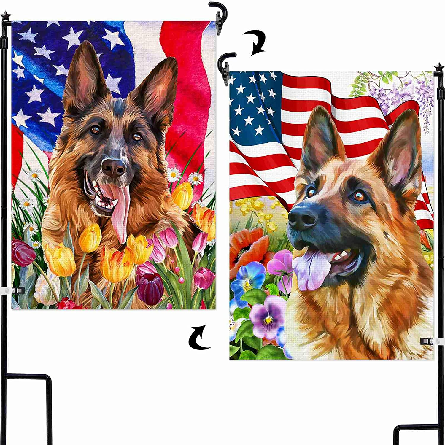 AOKDEER German Shepherd Garden Flag 12.5x18 Prime, 2-in-1 Double Sided Burlap Dog Decor House Flags, American Flag Patriotic Yard Signs Gift for Patio Lawn Outdoor Decor, Different Front and Back Flag
