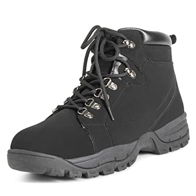 Mens Hiker Safety Durable Rubber Sole Work Leather Steel Toe Cap Boots -  Black - EU40 ef2c8e87f9c3