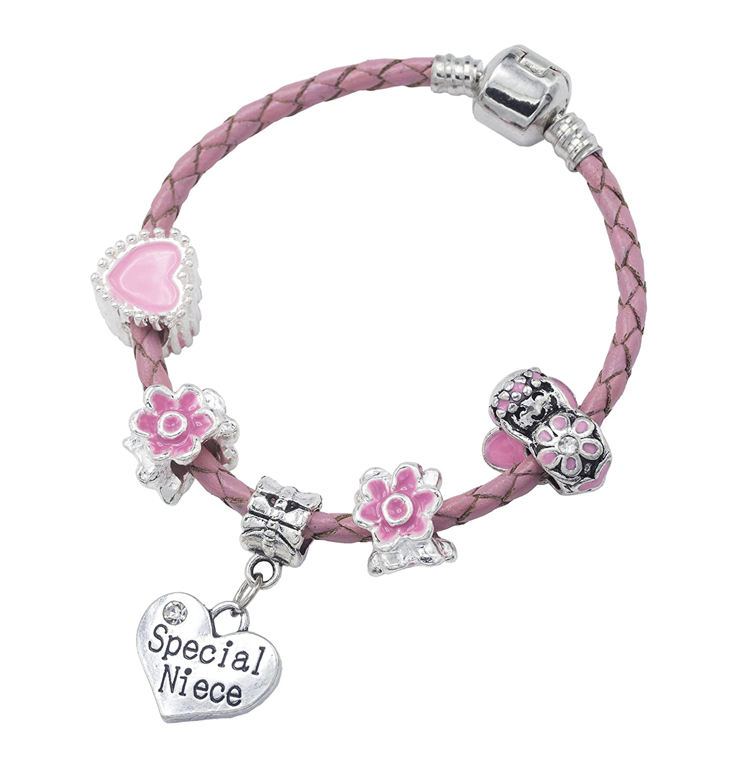 'Special Niece' Pink Leather Charm Bracelet for Girls Presented in High Quality Gift Pouch Jewellery Hut BRPNKLTSPECIALNIECE