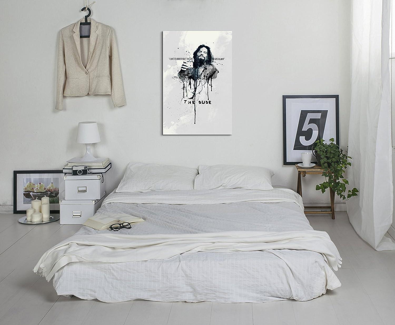 Paul Sinus Art Il Grande Lebowski 90 x 60 cm Keilrahmenbild Art Watercolor Art Mural su Tela pronta da Appendere Originale Unikat