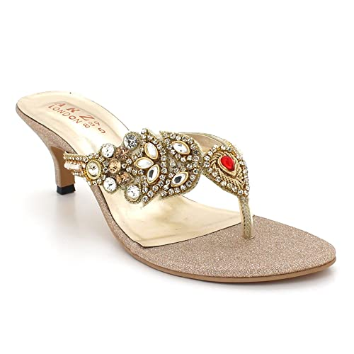 fd9cdc920f5bbf AARZ LONDON Womens Ladies Crystal Detail Open Toe Evening Wedding Party  Bridal Prom Diamante Medium Heel