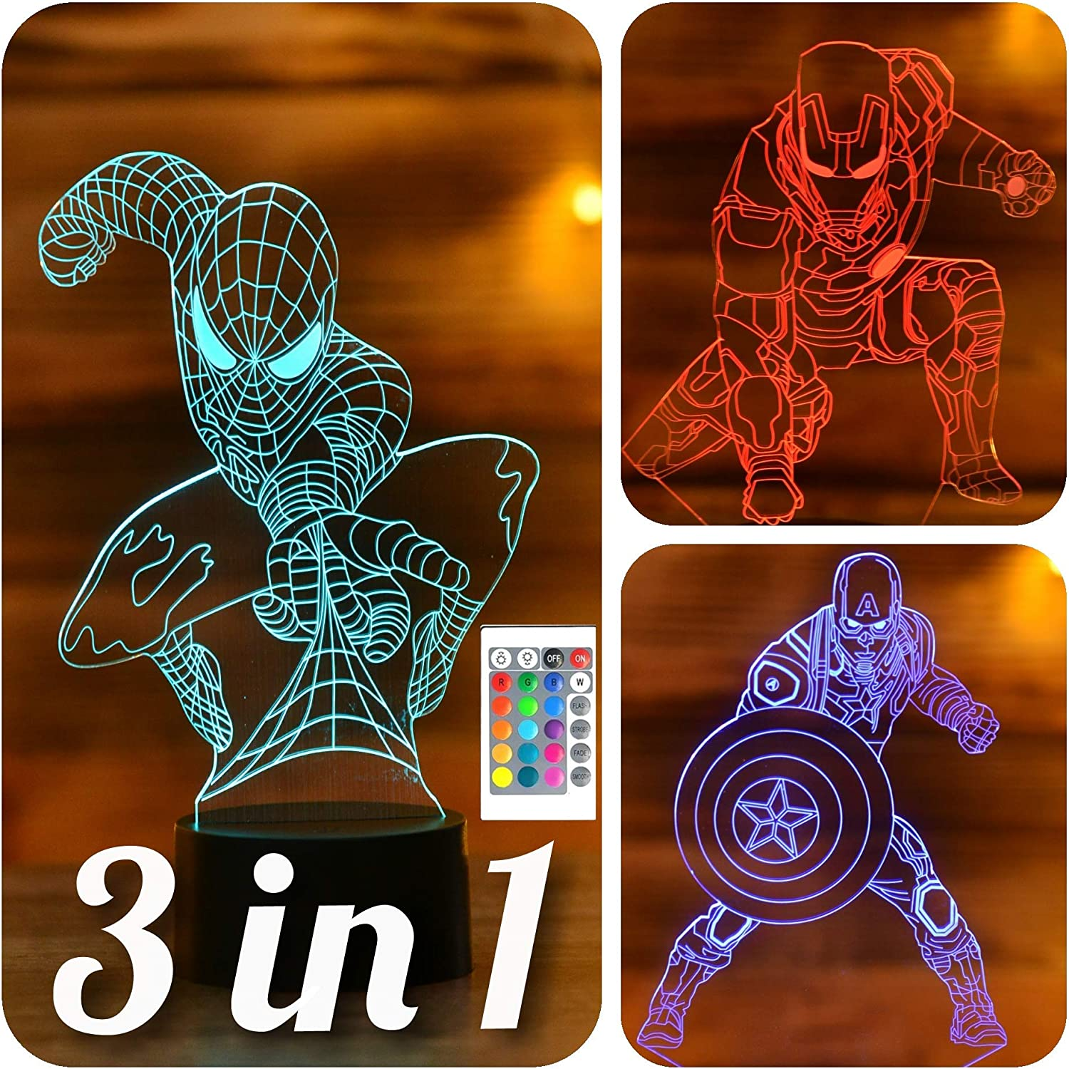 Amazon Com Serkyhome 3in1 3d Illusion Night Light For Kids 7 Colors With Remote Led Table Lamp Spiderman Ironman Captain America Avengers 3in1 Home Kitchen