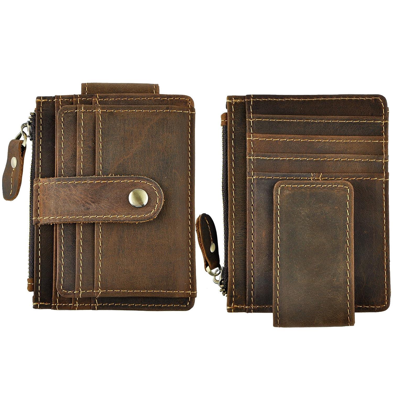 Le'aokuu Real Leather Magnet Money Clip Snap Card Case Holder Slim Front Pocket Wallet W1024