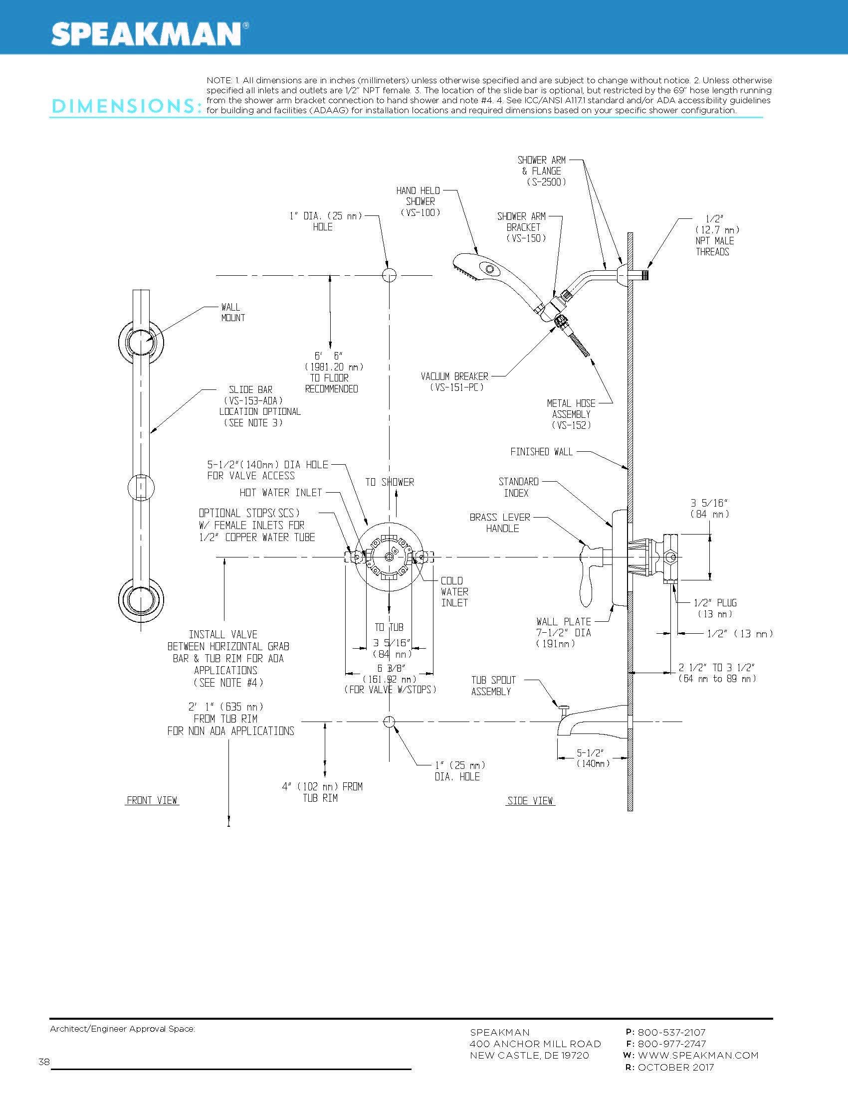 Speakman SentinelPro SM-5480-ADA Thermostatic//Pressure Balance Diverter Valve ADA Shower Combination Speakman Company