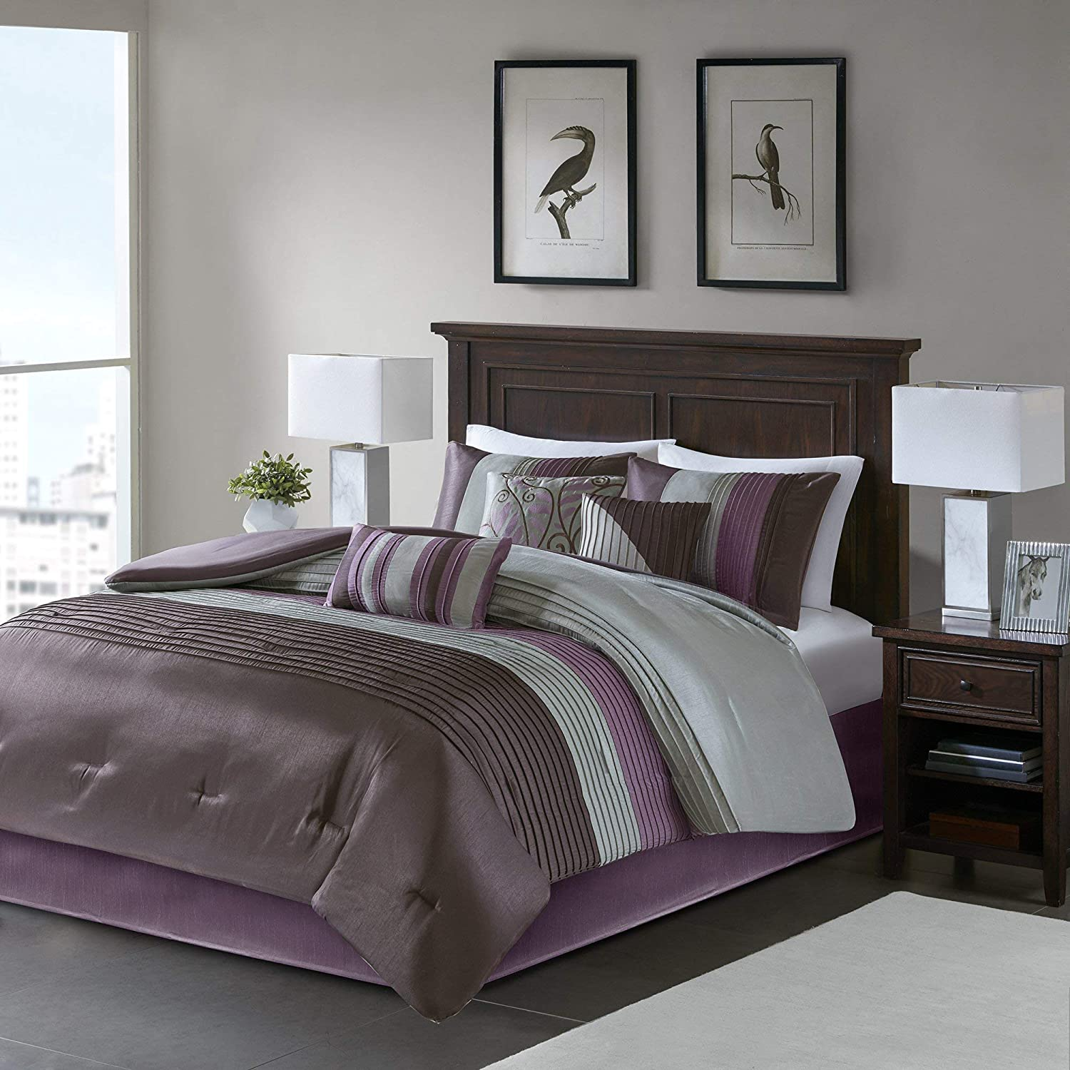 Madison Park Amherst Queen Size Bed Comforter Set Bed in A Bag - Purple, Grey, Pieced Stripes – 7 Pieces Bedding Sets – Ultra Soft Microfiber Bedroom Comforters