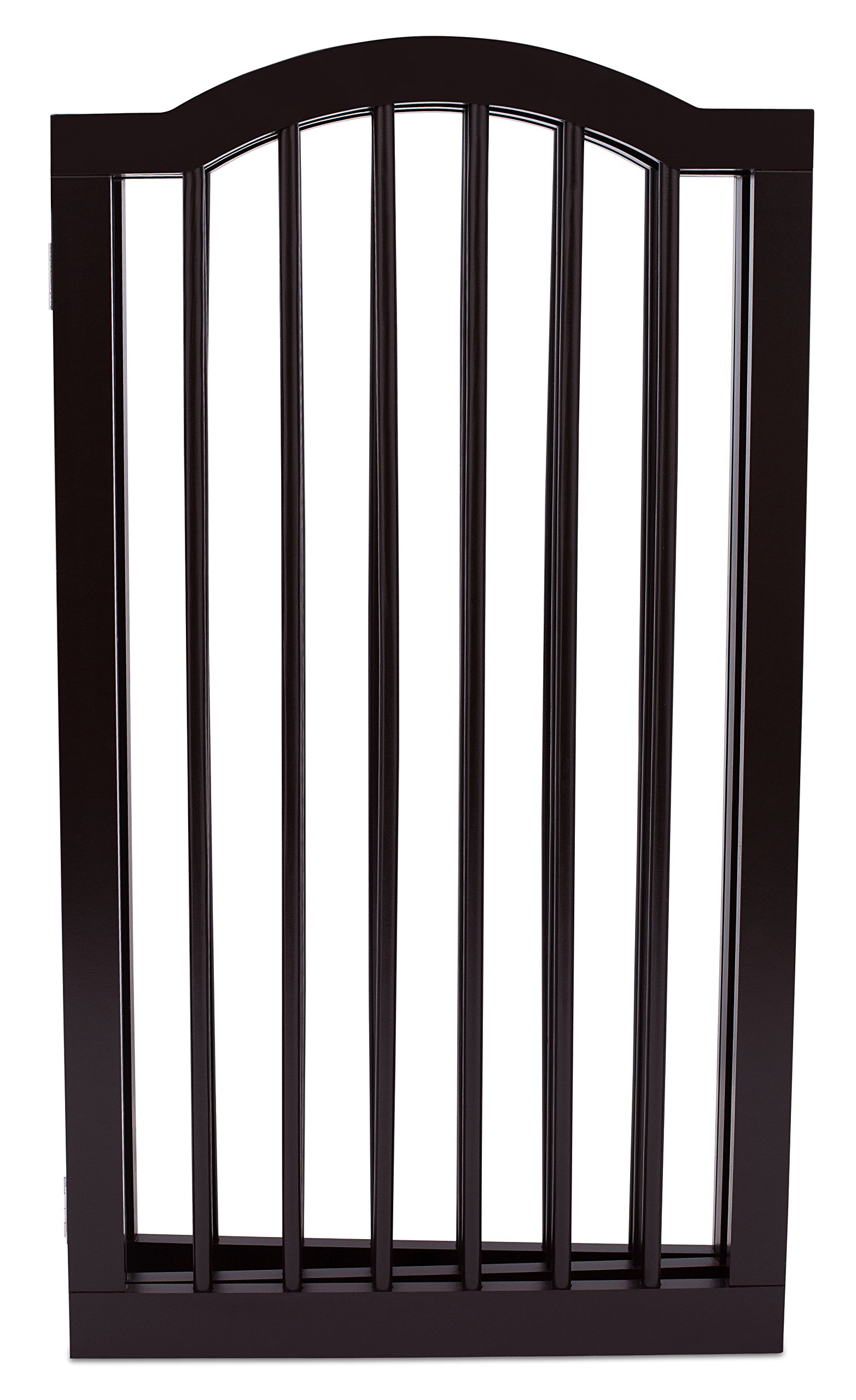 Internet's Best Pet Gate with Arched Top   4 Panel   36 Inch Tall Fence   Free Standing Folding Z Shape Indoor Doorway Hall Stairs Dog Puppy Gate   Fully Assembled   Espresso   Wooden by Internet's Best (Image #2)