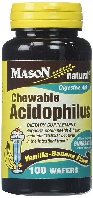 Mason Vitamins Acidophilus Chewable Waffers, Vanilla-Banana, 60 Count