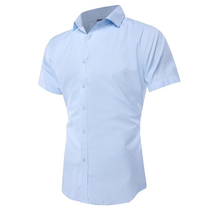 beautiful style sale retailer latest fashion Musen Men Dress Shirt Short Sleeve Slim Fit Solid Business Shirts Point  Collar