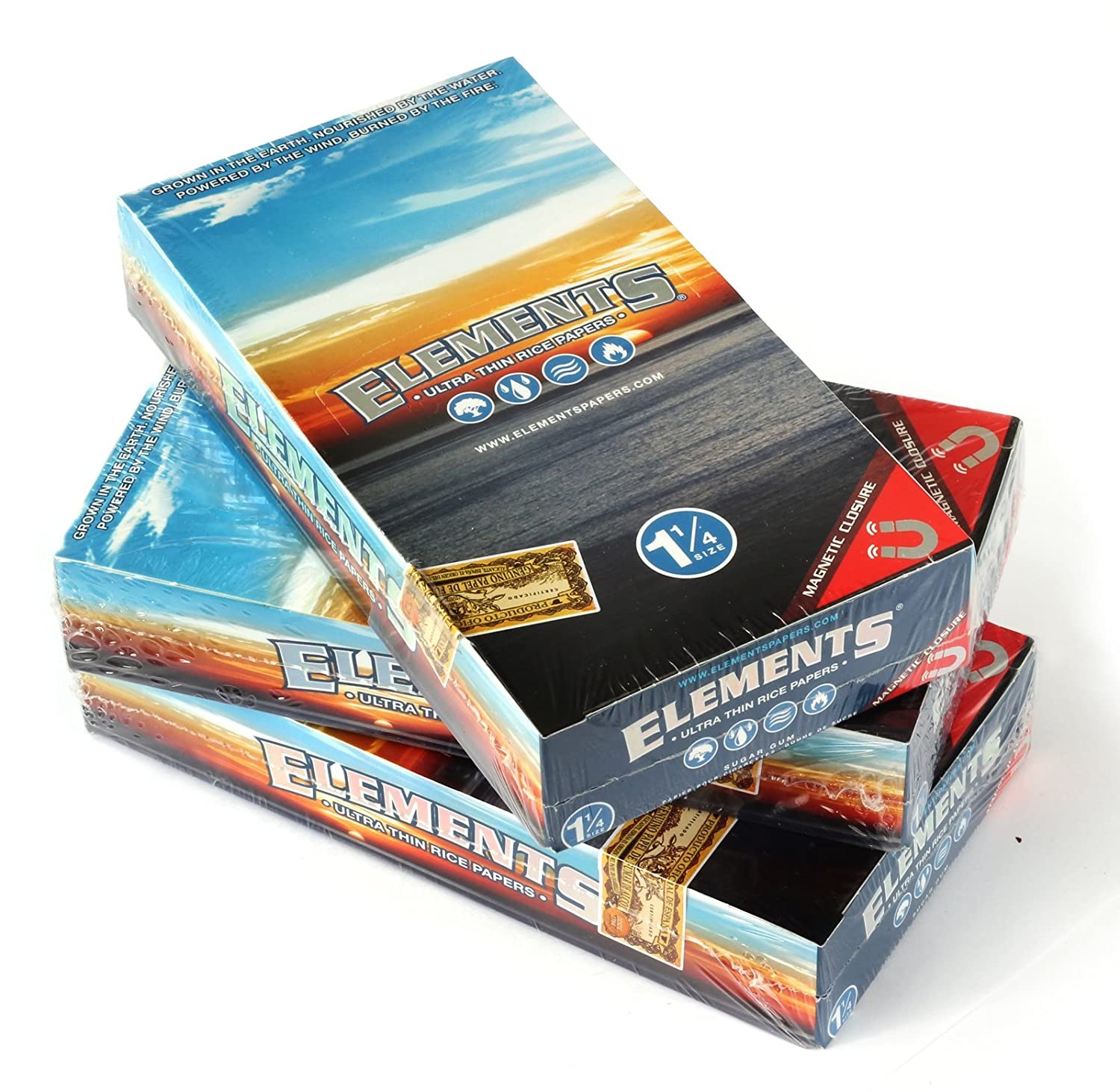 3 boxes ELEMENTS 1 1/4 Size ULTRA THIN RICE rolling paper with MAGNETIC CLOSURE
