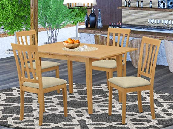 East West Furniture NOAN5-OAK-C 5-Piece Kitchen Dining Room Set 4 Dining Room Chairs and Dining Room Table Rectangular Table Top Slatted Back and Linen Fabric Chair Seat Oak Finish