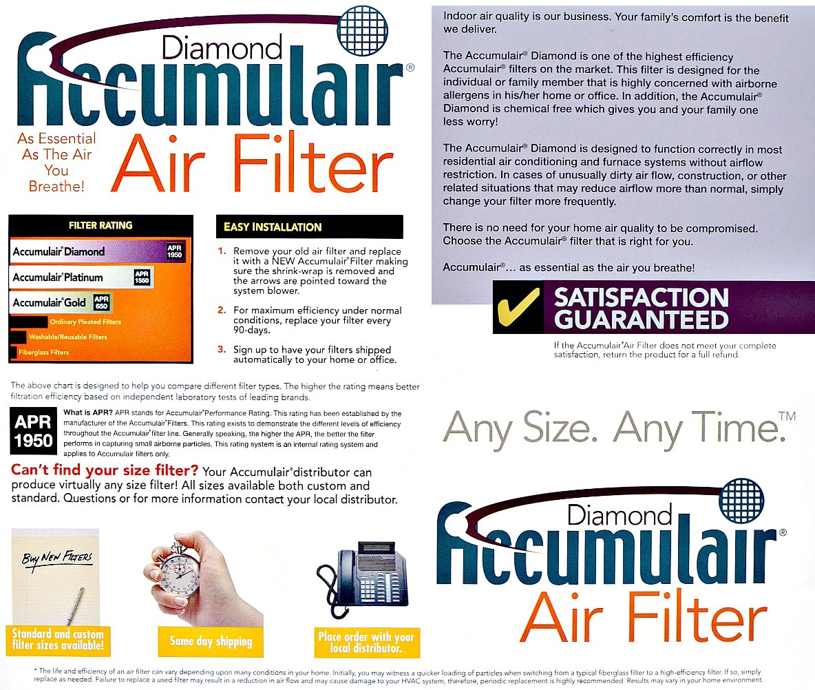 Accumulair Diamond 14x18x1 (13.5x17.5) MERV 13 Air Filter/Furnace Filters (6 pack)